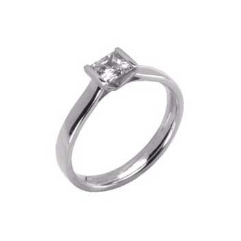18ct White Gold 0.4ct Princess Cut Diamond Solitaire Ring