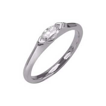 18ct White Gold 0.3ct Marquise Shaped Cut Single Stone Diamond Ring