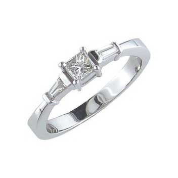18ct White Gold 0.3ct Fancy Diamond Ring With One Princess Cut And Two Tappered Baguette Cut Diamonds