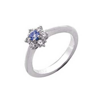 18ct White Gold Seven Stone Diamond and Blue Sapphire Ring