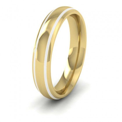 18ct Yellow Gold 4mm Court Shape Enamelled Wedding Ring