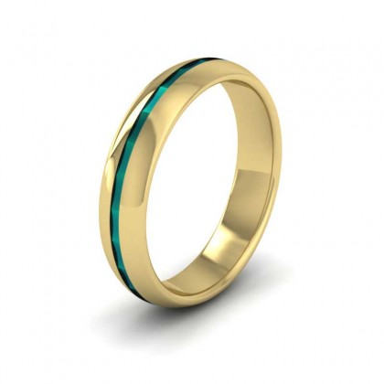 18ct Yellow Gold 5mm Court Shape Enamelled Wedding Ring