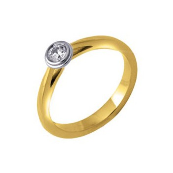 18ct Yellow and White Gold Brilliant Cut Quarter Carat Diamond Solitaire Ring