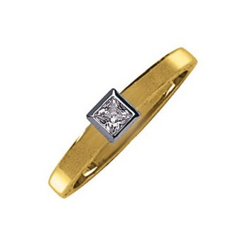 18ct Yellow and White Gold Princess Cut 0.27ct Diamond Solitaire Ring
