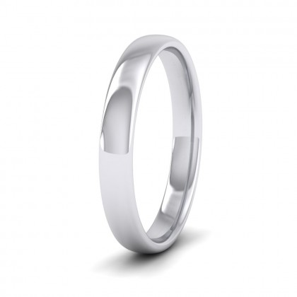 500 Palladium 3mm Cushion Court Shape (Comfort Fit) Classic Weight Wedding Ring