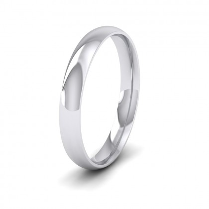 500 Palladium 3mm Court Shape (Comfort Fit) Classic Weight Wedding Ring