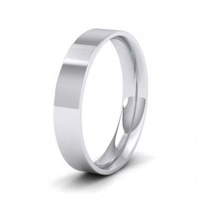 500 Palladium 4mm Flat Shape (Comfort Fit) Classic Weight Wedding Ring