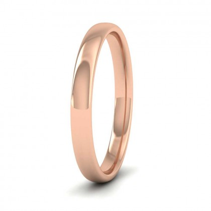 9ct Rose Gold 2.5mm Cushion Court Shape (Comfort Fit) Classic Weight Wedding Ring