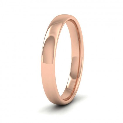 9ct Rose Gold 3mm Cushion Court Shape (Comfort Fit) Classic Weight Wedding Ring