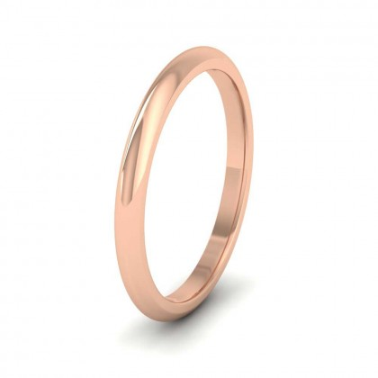 9ct Rose Gold 2mm 'D' Shape Extra Heavy Weight Wedding Ring