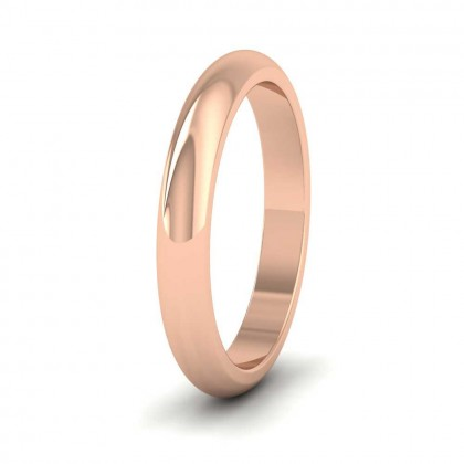 9ct Rose Gold 3mm 'D' Shape Super Heavy Weight Wedding Ring