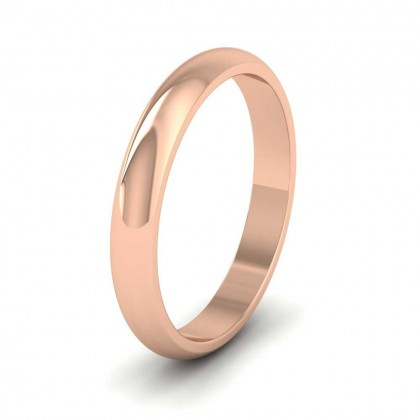9ct Rose Gold 3mm 'D' Shape Extra Heavy Weight Wedding Ring