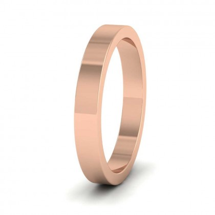 9ct Rose Gold 3mm Flat Shape Super Heavy Weight Wedding Ring