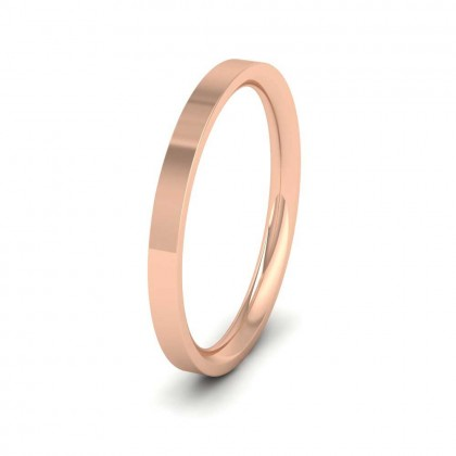 9ct Rose Gold 2mm Flat Shape (Comfort Fit) Extra Heavy Weight Wedding Ring