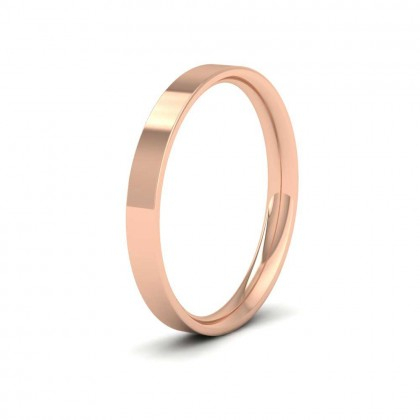 9ct Rose Gold 2.5mm Flat Shape (Comfort Fit) Classic Weight Wedding Ring