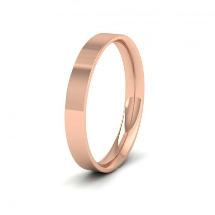 9ct Rose Gold 3mm Flat Shape (Comfort Fit) Classic Weight Wedding Ring