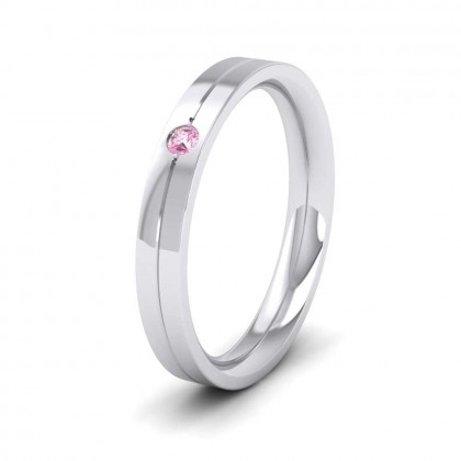 9ct White Gold 3mm Flat Court Shape Single Stone Pink Sapphire Wedding Ring
