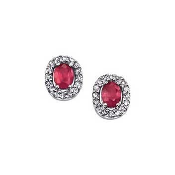 9ct White Gold Diamond and Ruby Earrings