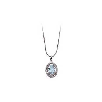 9ct White Gold Aquamarine and Diamond Pendant and Chain Necklace
