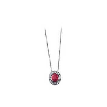 9ct White Gold Ruby and Diamond Pendant and Chain Necklace
