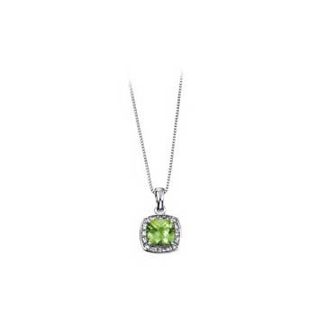 9ct White Gold Peridot and Diamond Pendant and Chain Necklace