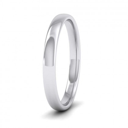 9ct White Gold 2.5mm Cushion Court Shape (Comfort Fit) Classic Weight Wedding Ring