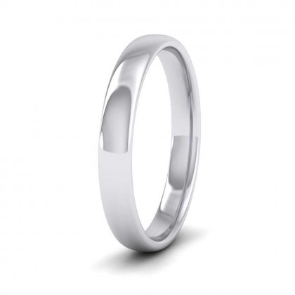 9ct White Gold 3mm Cushion Court Shape (Comfort Fit) Classic Weight Wedding Ring