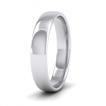 9ct White Gold 4mm Cushion Court Shape (Comfort Fit) Classic Weight Wedding Ring