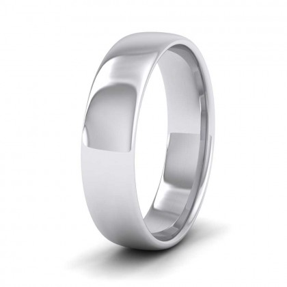 9ct White Gold 5mm Cushion Court Shape (Comfort Fit) Classic Weight Wedding Ring