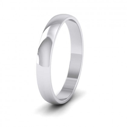 9ct White Gold 3mm 'D' Shape Classic Weight Wedding Ring