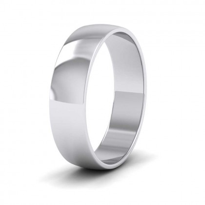 9ct White Gold 5mm 'D' Shape Classic Weight Wedding Ring
