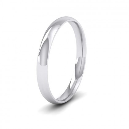 9ct White Gold 2.5mm Court Shape (Comfort Fit) Classic Weight Wedding Ring