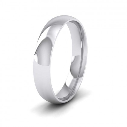 9ct White Gold 4mm Court Shape (Comfort Fit) Classic Weight Wedding Ring