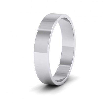 9ct White Gold 4mm Flat Shape Classic Weight Wedding Ring