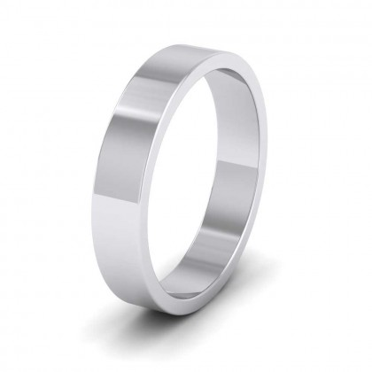 9ct White Gold 4mm Flat Shape Extra Heavy Weight Wedding Ring