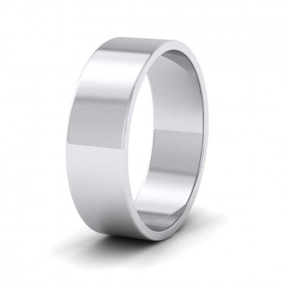 9ct White Gold 6mm Flat Shape Classic Weight Wedding Ring