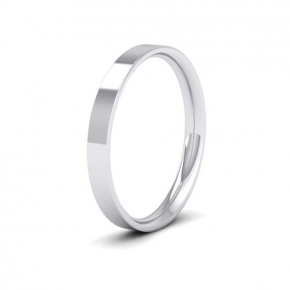 9ct White Gold 2.5mm Flat Shape (Comfort Fit) Classic Weight Wedding Ring