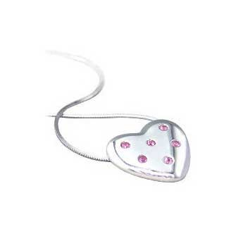 9ct White Gold Pink Sapphire Pendant and Chain Necklace