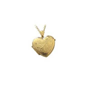 9ct Yellow Gold Engraved Heart Locket and Chain Necklace