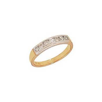 9ct Yellow Gold Seven Stone Diamond Channel Set Ring