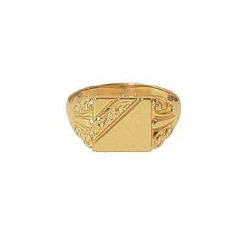 9ct Yellow Gold Engraved Signet Square Ring