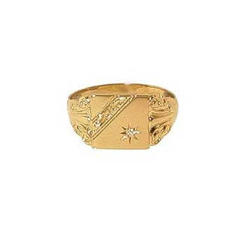 9ct Yellow Gold Diamond Set Engraved Square Signet Ring