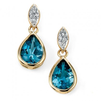 9ct Yellow Gold Drop Earrings Set With Diamond And London Blue Topaz.