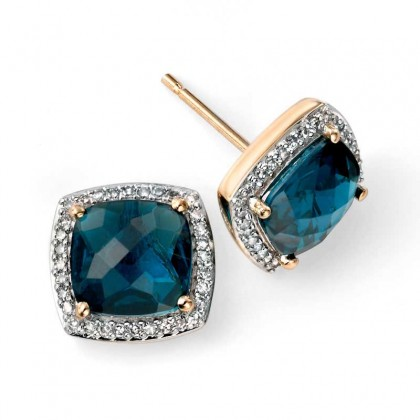 9ct Yellow Gold Cushion Shaped Earrings Set With London Blue Topaz And Diamonds.