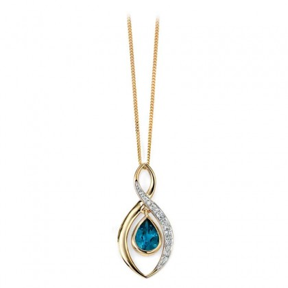 9ct Yellow Gold Diamond And London Blue Topaz Pendant.