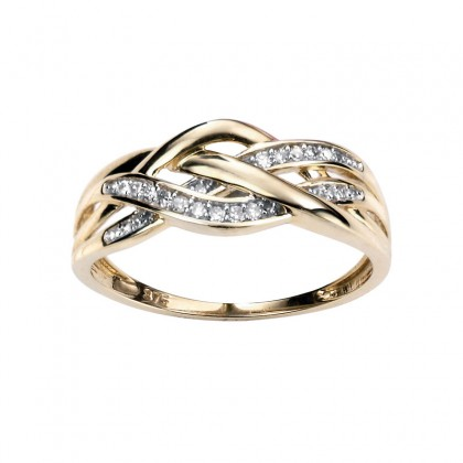 9ct Yellow Gold Ring Set With Diamond