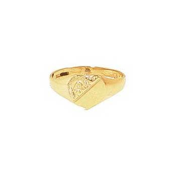 9ct Yellow Gold Ladies Half Engraved Heart Signet Ring