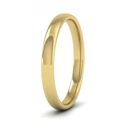 9ct Yellow Gold 2.5mm Cushion Court Shape (Comfort Fit) Classic Weight Wedding Ring