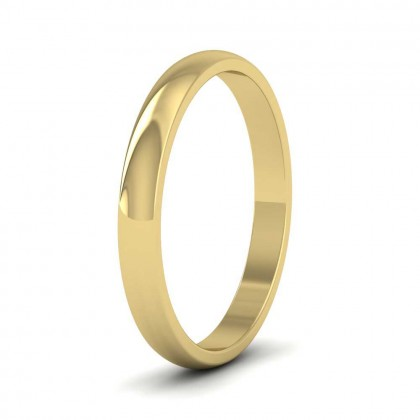 9ct Yellow Gold 2.5mm 'D' Shape Classic Weight Wedding Ring