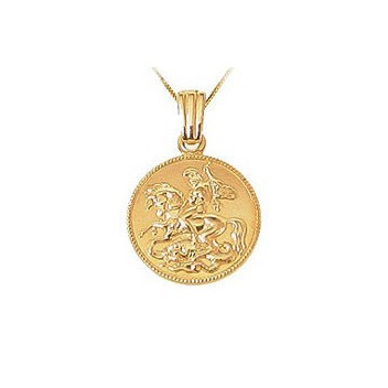 9ct Yellow Gold Embossed George and Dragon Pendant and Chain Necklace